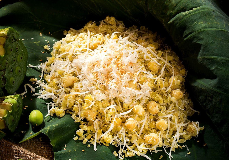 các món ăn chay đãi tiệc - xôi vò hạt sen