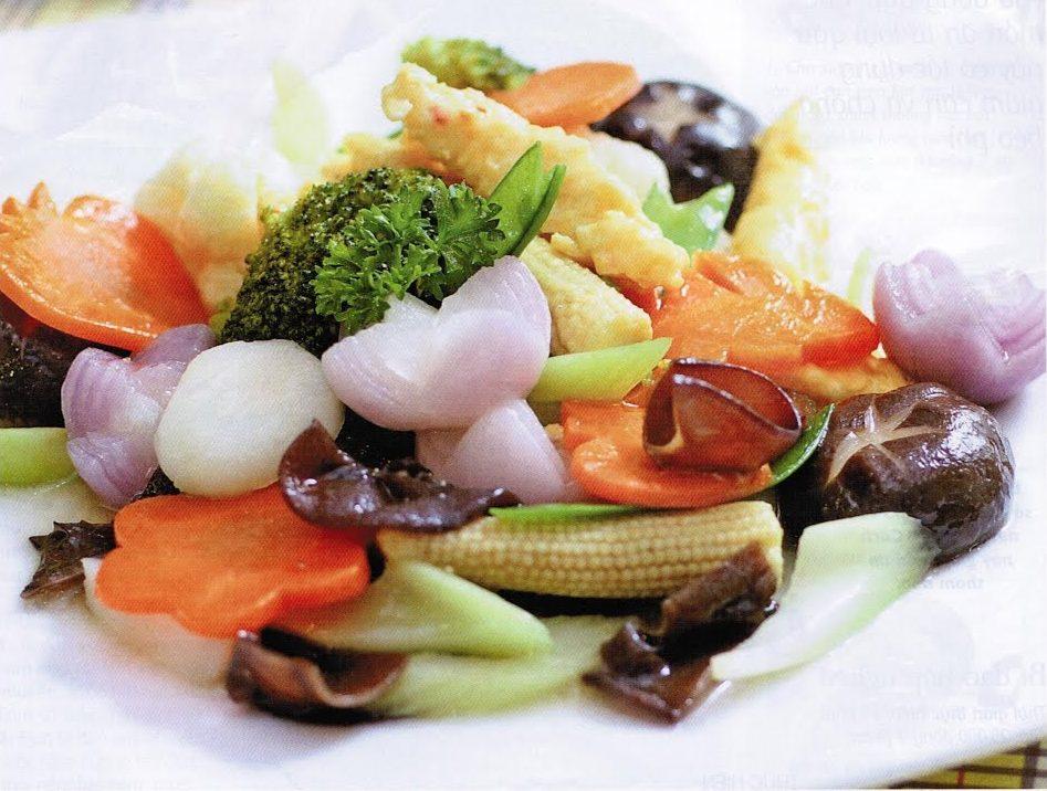 các món ăn chay từ nấm - nấm đông cô xào chay thập cẩm